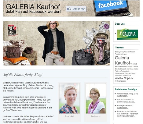 galeria kaufhof er ffnet online shop als virtuelles schaufenster mit blog. Black Bedroom Furniture Sets. Home Design Ideas